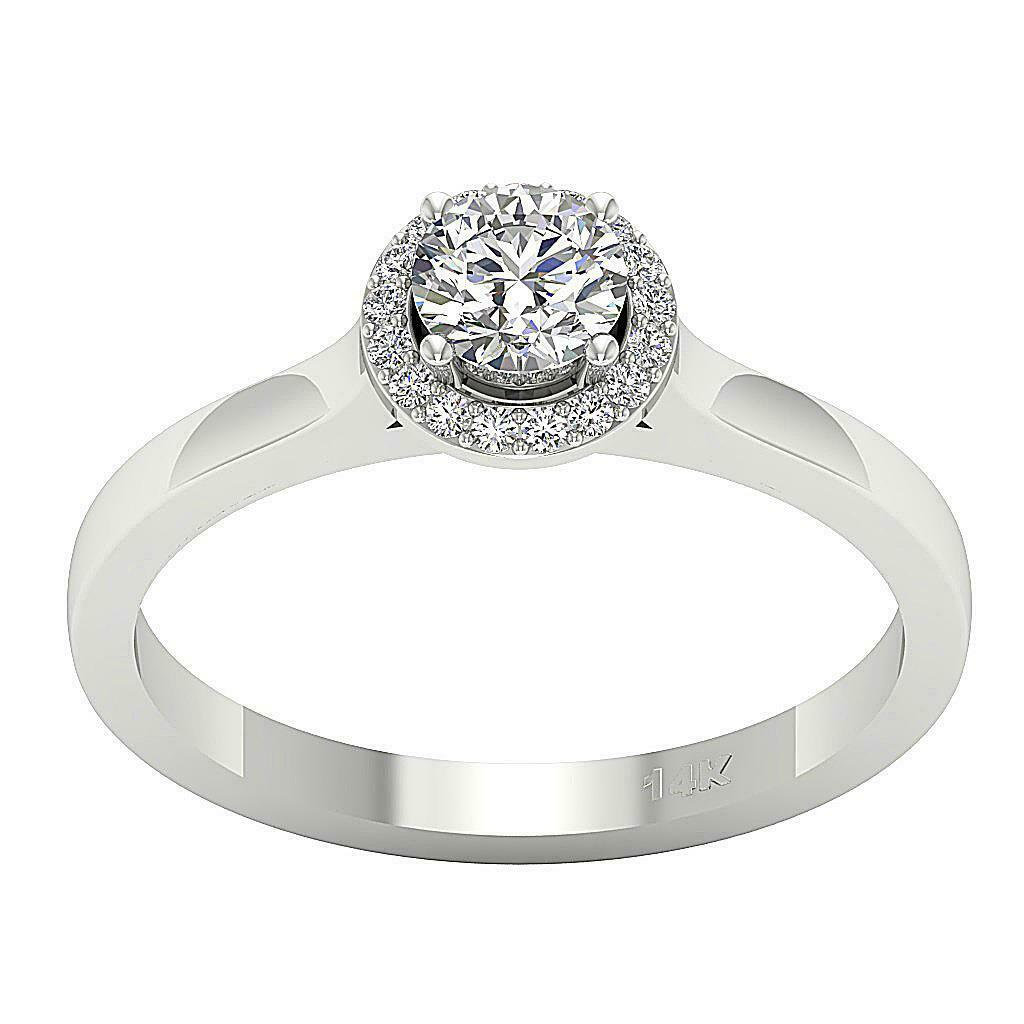 Solitaire Halo Engagement Ring I1 G 0.75 Carat Round Cut Diamond 14K gold 9.15MM