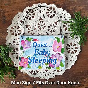 DECO-Mini-Sign-QUIET-BABY-SLEEPING-Door-Knob-Hanger-Gift-Wood-Ornament-NEW-USA