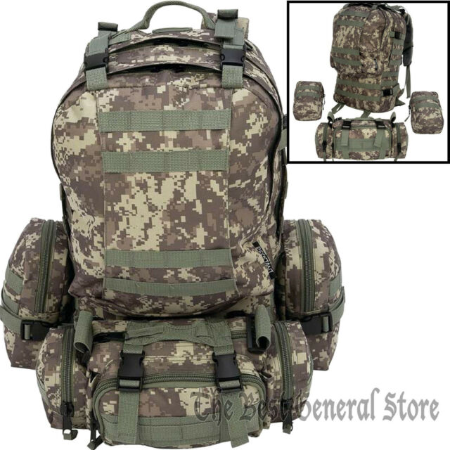 4pc Digital Camo Backpack Bug Out Bag Tactical Military Day Pack Survival Gear