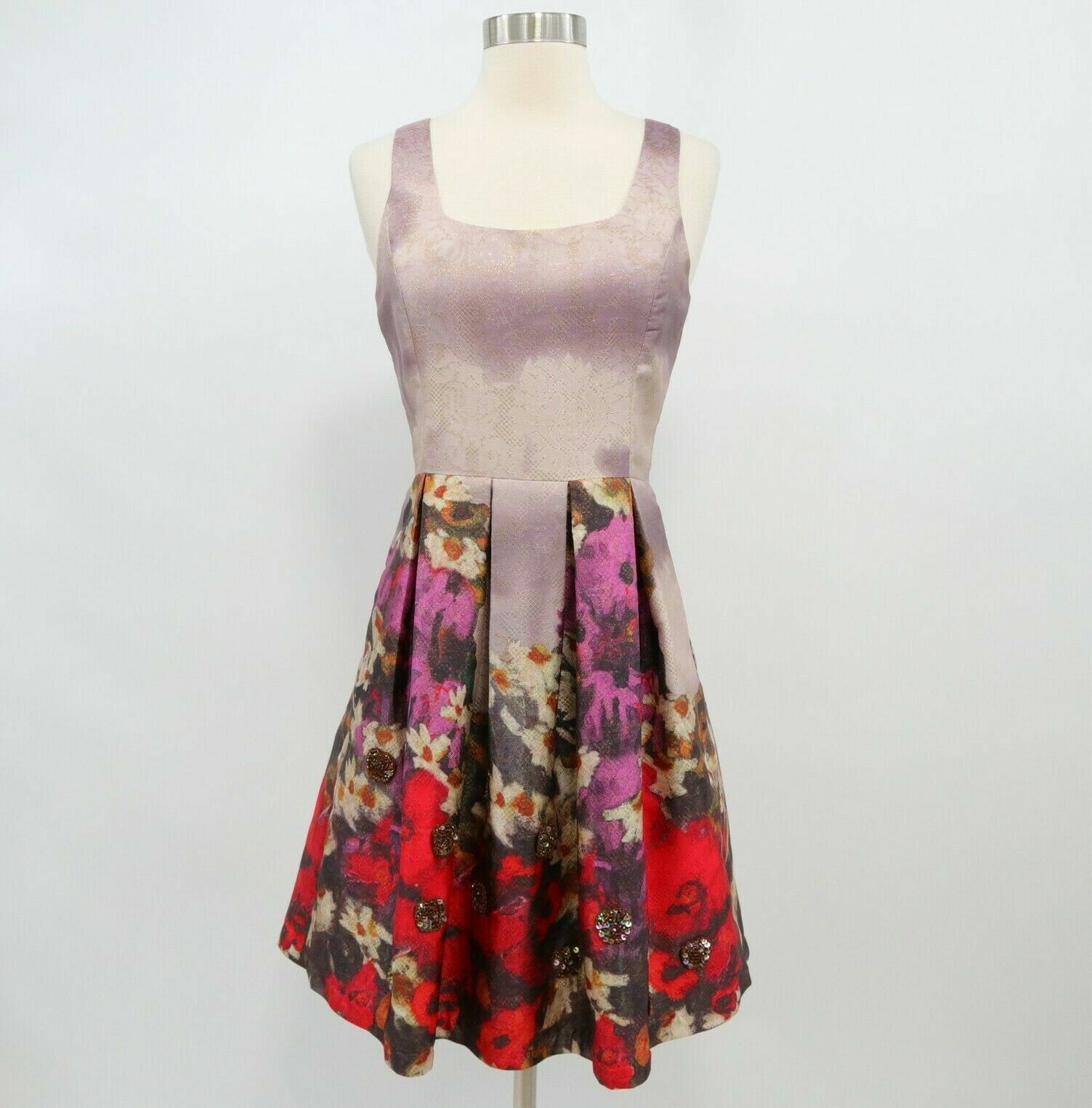 Belle Badgley Mischka Fit&Flare Dress damen Sz 2 Floral Gold Metallic Rosa