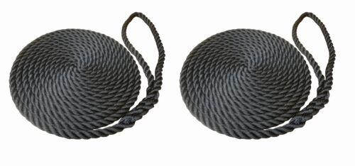 2 X 6 METRES OF 12MM BLACK SOFTLINE MOORING ROPES//LINES NARROWBOAT BOATS