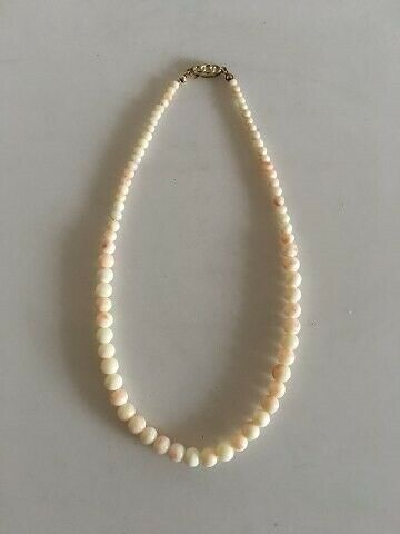 Halskæde, sølv, Perlehalskæde med Elfenben og Lås i