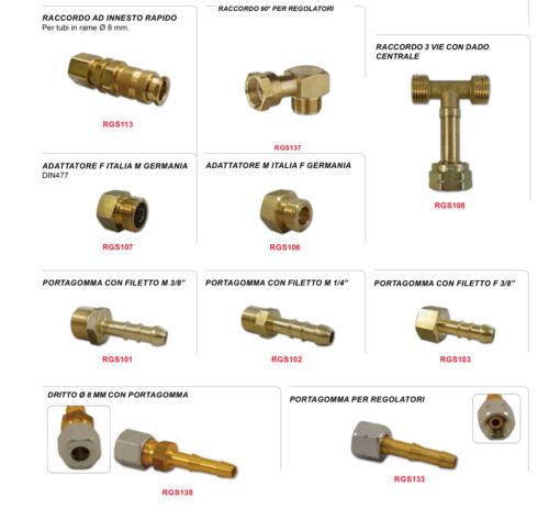 Raccordi Gas camper per tubi metallici e regolatori gas universali FEU