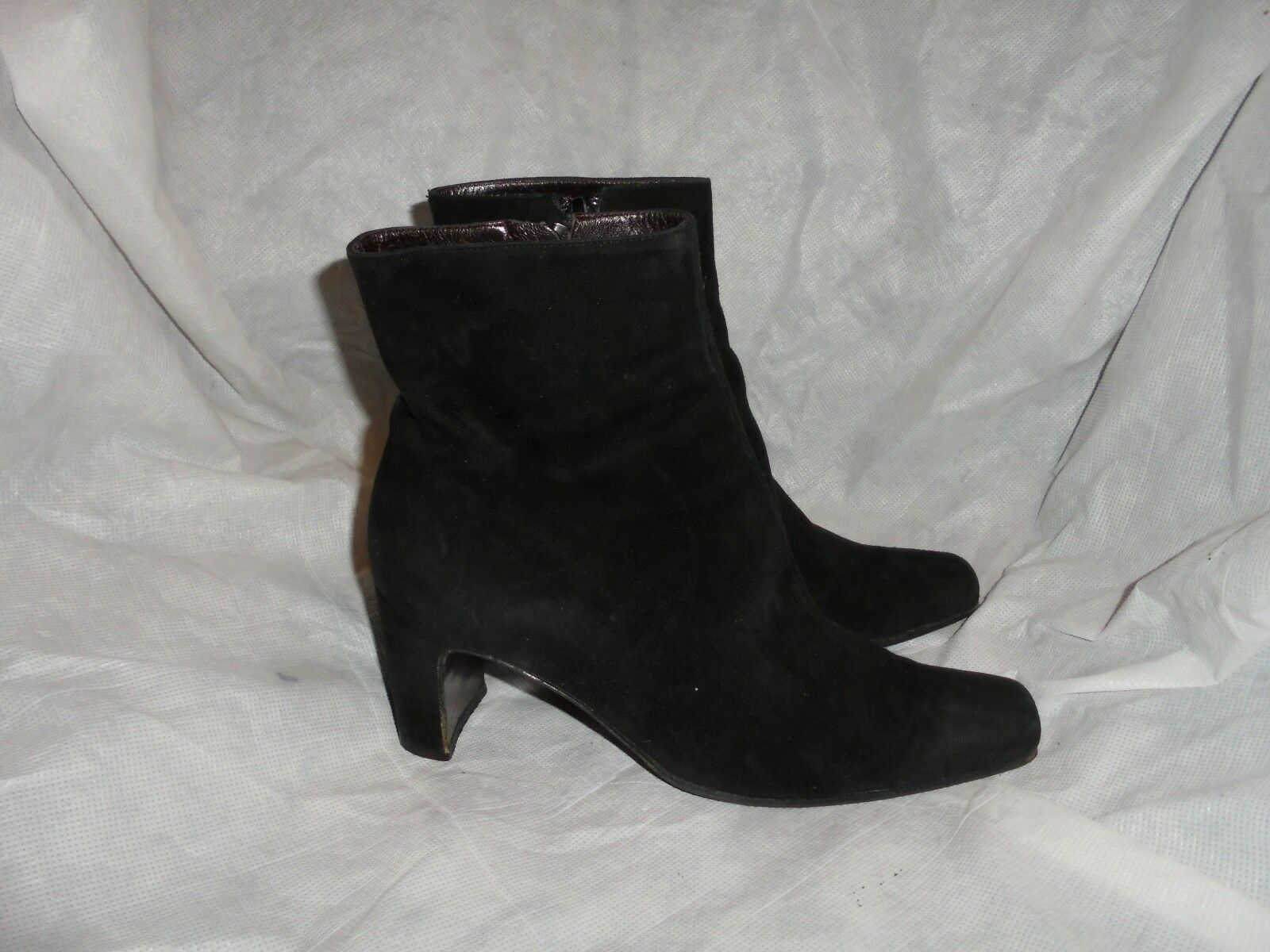 ARMAND0 POLLINI WOMEN BLACK SUEDE  LEATHER ANKLE BOOT SIZE UK 4.5 EU 37.5 VGC