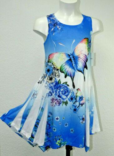 Mädchen Kleid Party Ärmellos Sommerkleid Tunika Strandkleid Glitzer Strass Blau