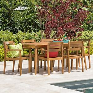 Image Is Loading 7 Piece Acacia Wood Outdoor BBQ Deck Dining