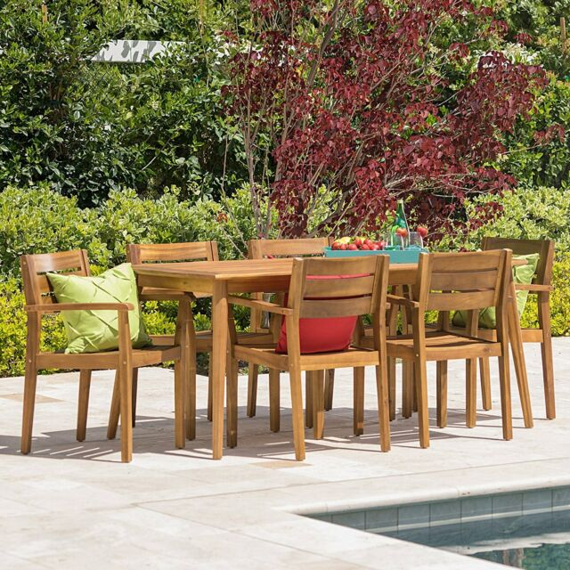 7 Piece Outdoor Acacia Wood Deck Dining Set Patio Furniture Table