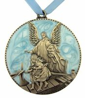 Guardian Angel Blue Crib Medal (wc585boy) In Gift Box