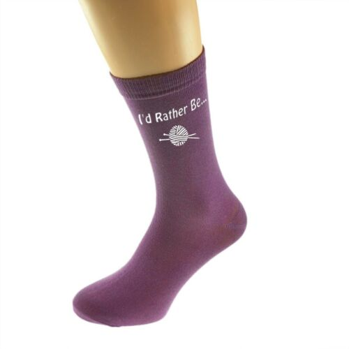 I/'d Rather be Knitting with Knitting Wool Printed White on Ladies PURPLE Socks