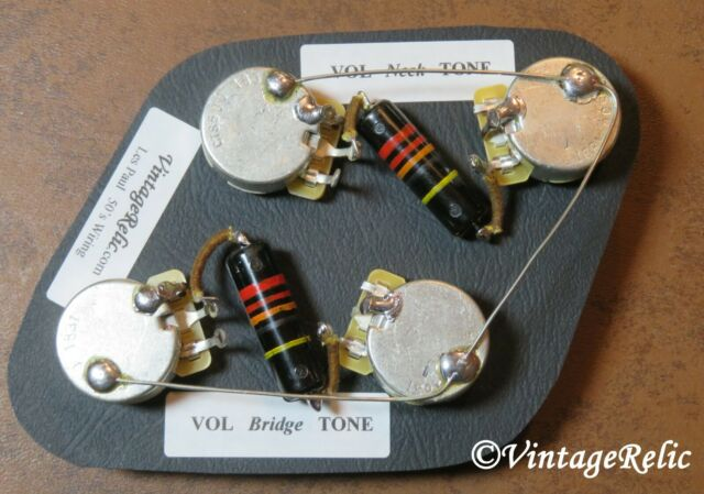 Upgrade Wiring Kit vintage 1950s Bumblebee Caps CTS fit Gibson Les on