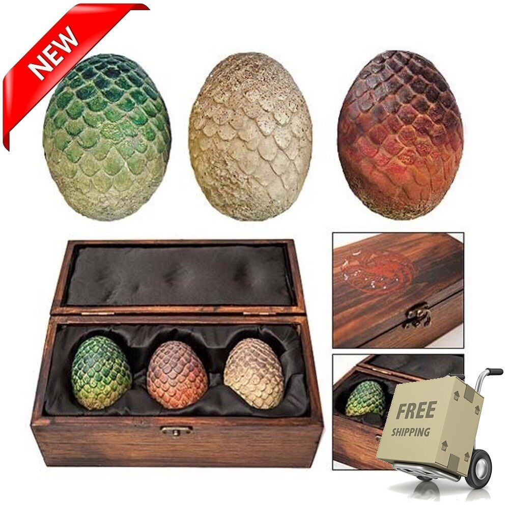 LIMITED EDITION Game of Thrones Dragon Eggs Replica Set Wooden Box NEW SOLD OUT