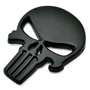 Adesivo-3D-TESCHIO-emblema-Skull-Punisher-auto-tuning-car-sticker-metallo-NERO
