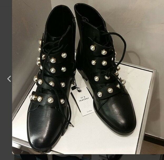 ZARA AW17 LEATHER ANKLE stivali WITH FAUX PEARLS nero ALL DimensioneS REF. 7158 201