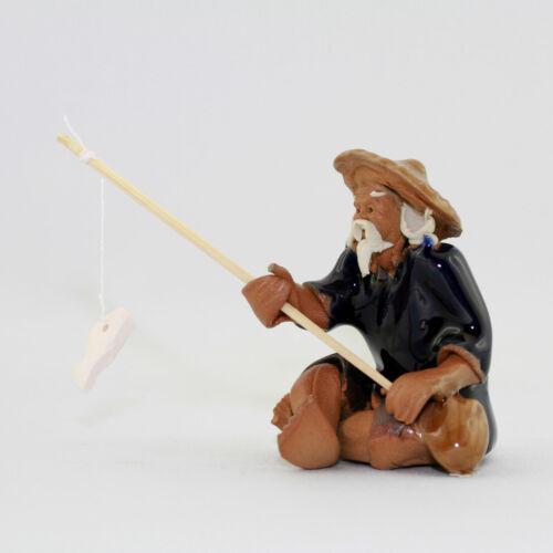 """Bonsai Figur Deko Keramik /""""Angler/"""" Tonfigur Bonsaifigur"""