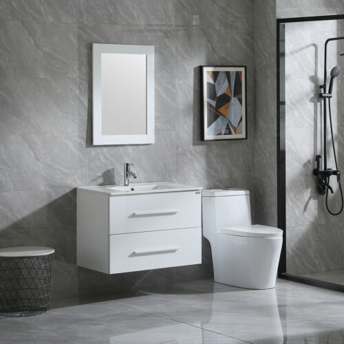 32 inch White Bathroom Sink Double / Three Drawer Vanity ...