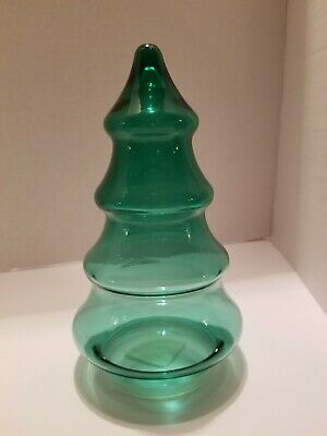 """Green Glass Christmas Tree Apothecary Canister Candy Jar 7.5/"""" Tall"""