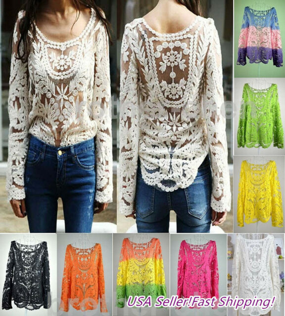 Sexy  Women Sheer Sleeve Embroidery Floral Lace Crochet Tee T-Shirt Top Blouse