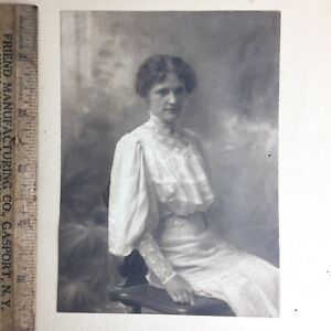 Antique Photo Beautiful Girl Woman Victorian Tea Dress Mutton Sleeves 1890s Art