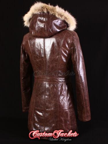 Mesdames Moscou Marron Fourrure à Capuche Parka vrai peau d/'agneau Veste en cuir Manteau 9940