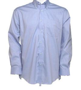 Kustom-Kit-KK105-para-Hombre-Chicos-Camisa-Mangas-Largas-Oficina-Informal-Trabajo-Luz-Azul-Nuevo