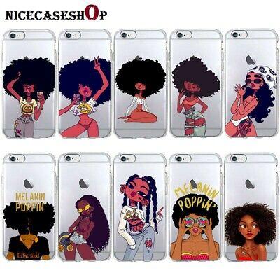 Afro Black Girl Magic Melanin Poppin Soft Silicone Phone Case For