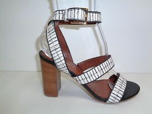 1adbdd37a9ac Cole Haan Size 8 M DELILAH Black White Leather Heels Sandals New ...
