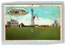 Evansville IN, Evansville Airport, Bi-Plane & Tower Indiana c1936 Postcard P14