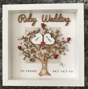 Image Is Loading Personalised Handmade Ruby 40th Wedding Anniversary Family Tree