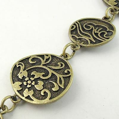 Vintage Bronze tone Alloy Necklace Round Link Sweater Chain 1M 1piece