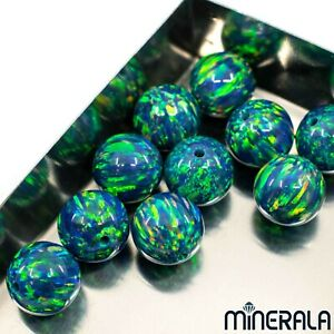 WHOLESALE-BLUE-W-GREEN-SYNTHETIC-OPAL-FULL-DRILLED-ROUND-BEADS-VARIOUS-SIZES