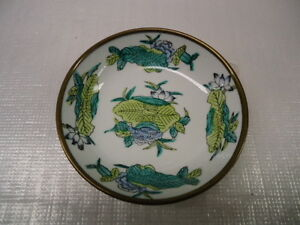 VINTAGE CHINESE CHINA COPPER & PORCELAIN ENAMEL HAND PAINTED BOWL