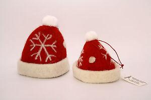 2-St-Weihnachtsmuetze-Filz-Schneeflocken-Baumschmuck-Tischdeko-Weihnachtsbaum