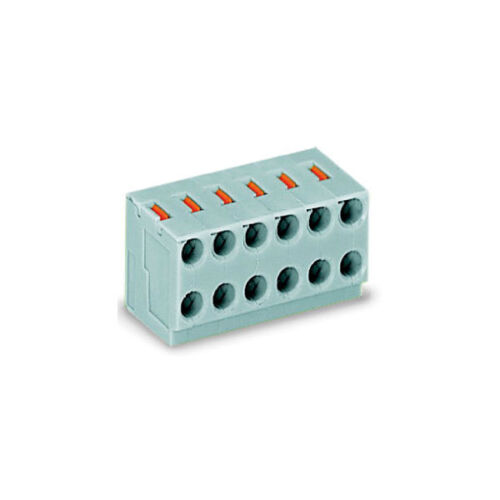 Wago 252-104 4x2 Pole 3.5 mm 2 A a pulsante PIN DI SALDATURA PCB blocco terminale grigio