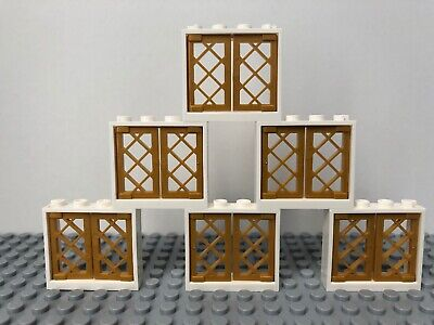 Lego city New Condition 1 x 4 White window frames with pearl gold shutters