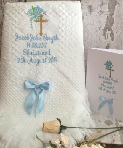 Personalised Baby Blanket shawl christening  Baptism with Matching card