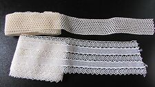 2 X antiguo francés Pretty Crema longitudes de encaje de ganchillo de algodón delgada y 14FT Ancho
