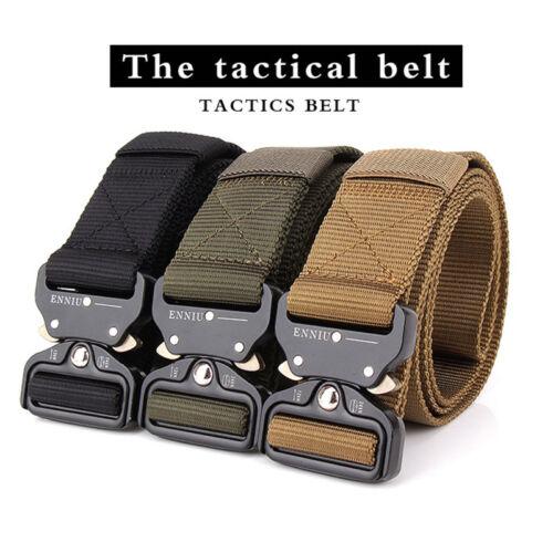 Men/'s Outdoor Military Training Tactical Belt Canvas Buckle Belt Web Belt