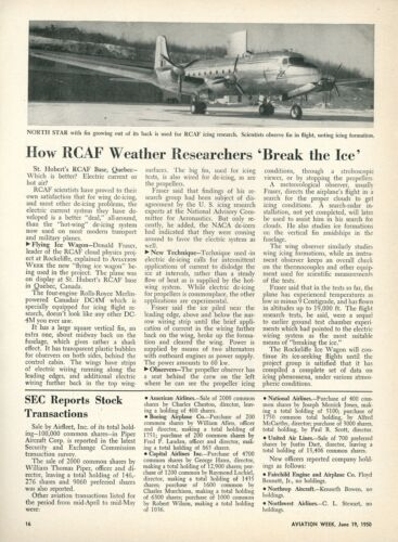 1950 Aviation Article Royal Canadian Air Force Deicing Tests Canadair DC4M