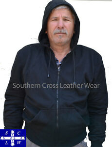 Black-Motorcycle-Polar-Fleece-Hoodie-Jacket-with-Removable-Armor-Guards-M-4XL