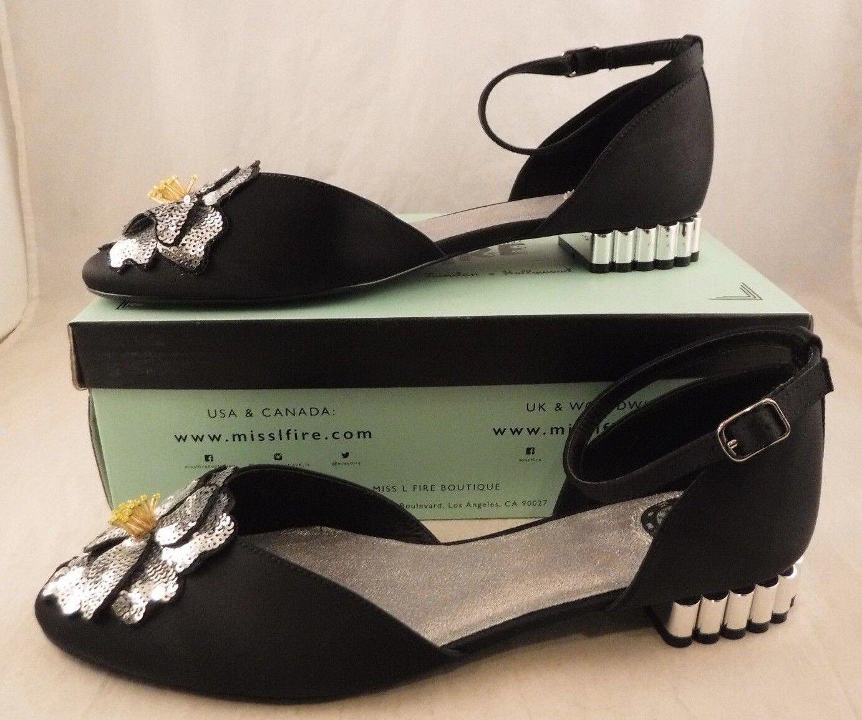 Miss L Fire Petunia Black Perfect Petunias Embellished Flat Flat Flat US 9 1 2 UK 7 EU 40 17ae3b
