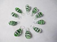 Green White Swirl Glass Lampwork Pendants Lot Of 10 - Focal Bead Wholesale