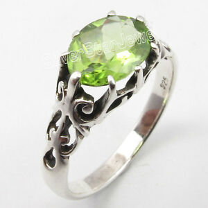 925-Solid-Silver-FACETED-GREEN-PERIDOT-Cage-Setting-HANDWORK-Ring-Any-Size-NEW
