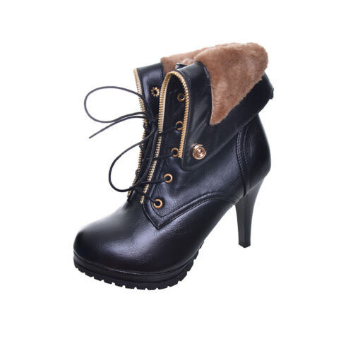 1c3afaa7e0e High Platform Heels New Up Toe Lace Winter Boots Thin Warm Pointed Ankle  Women nwwafxUR