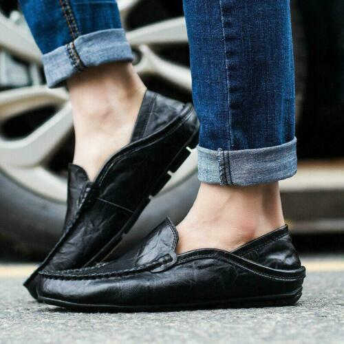 Autumn Men/'s Leather Loafers Casual Lazy Driving Moccasins Shoes Flat Slip on