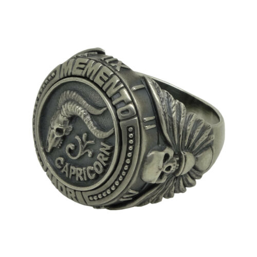 Capricornio ZODIAC SIGN Cráneo Biker MENS anillo de plata esterlina