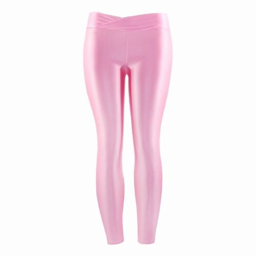 Plus Size Solid Fluorescent Leggings Women Push Up Fitness Leggins Spandex shiny