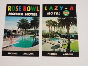 Vtg-2-1960s-Postcards-Lazy-A-Motel-Rose-Bowl-Motor-Hotel-Phoenix-AZ