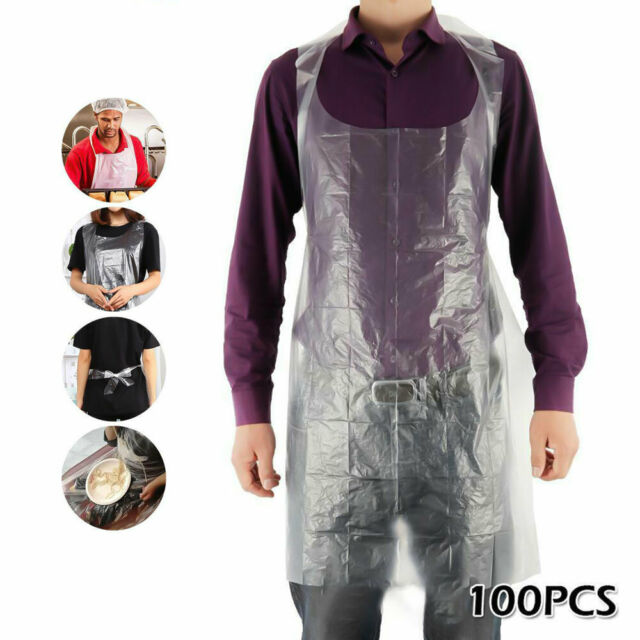 100 Pcs Set Disposable Aprons Waterproof Oil Proof Antifouling PE Plastic Aprons