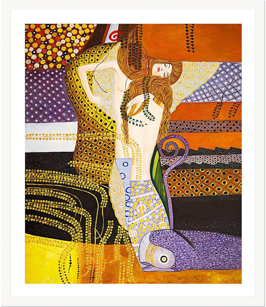 Water Serpents I by Gustav Klimt 75cm x 62.5cm Framed Weiß