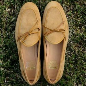 Men-Slip-On-Belgian-Suede-Loafer-Handmade-Camel-Casual-Shoes-Calf-Leather